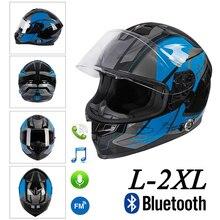Motorcycle Bluetooth Helmet Dual Visor Full Face Flip Up Built-In Intercom+FM Audio Motocross Street Bike Racing Road silvering visor full face dual visor motorcycle helmet