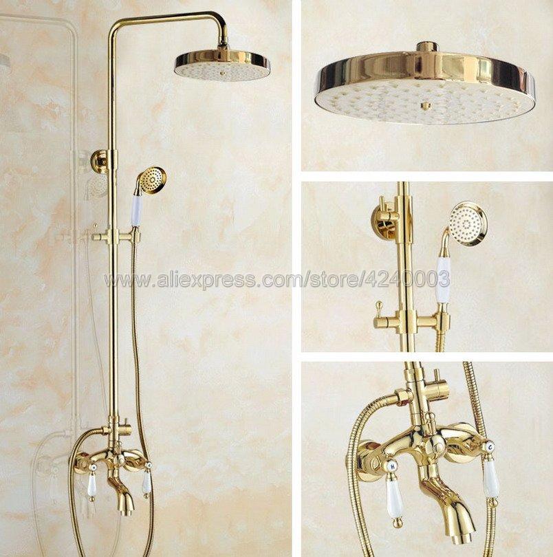 Luxus Goldene Wand Montiert Regen Duscharmatur Set Messing Runde Top Spray mit ABS Handbrause Kit Swivel Badewanne Wasserhähne