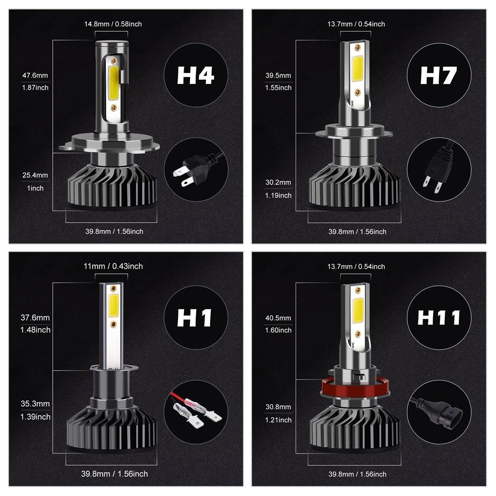 Infitary Car Headlight H7 LED H4 LED H1 H11 H3 H13 H27 880 9006 9007 72W 8000LM 6500K 12V 24V Auto Headlamp COB Fog Light Bulb