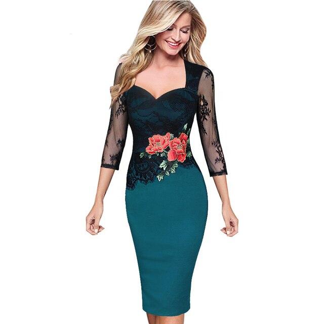 12e650c0d Otoño Invierno Vestido de Las Mujeres Florales Bordados Elegantes Opacidad  de Encaje Vestidos de Partido de