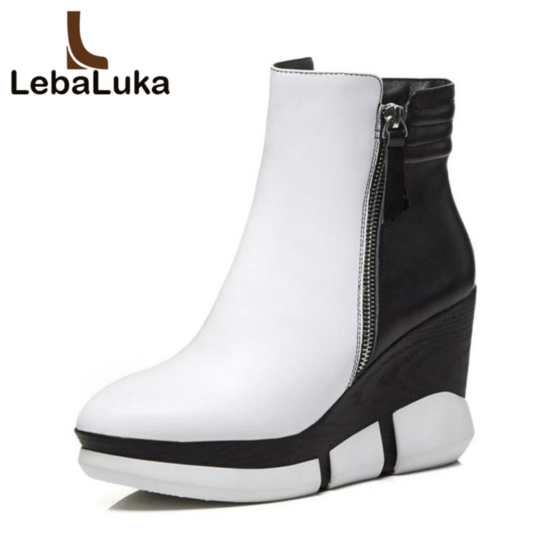 цены LebaLuka Sexy Women Real Leather High Wedges Boots Zipper Platform Warm Shoes Women Ankle Boots Mixed Color Shoes Size 34-39