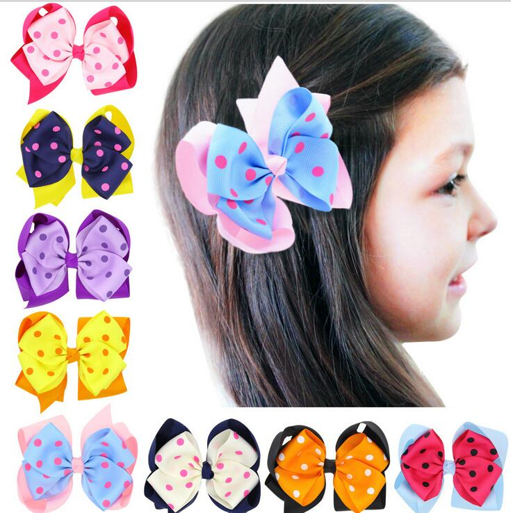 Free Shipping 100pcs/lot Two Layers Twisted Hairbow with Polka Dot Hair Accessory
