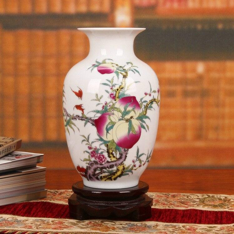 Jingdezhen ceramics factory direct Peach-Shaped Mantou pastel eggshell white gourd vase Home Furnishing wine map decoration