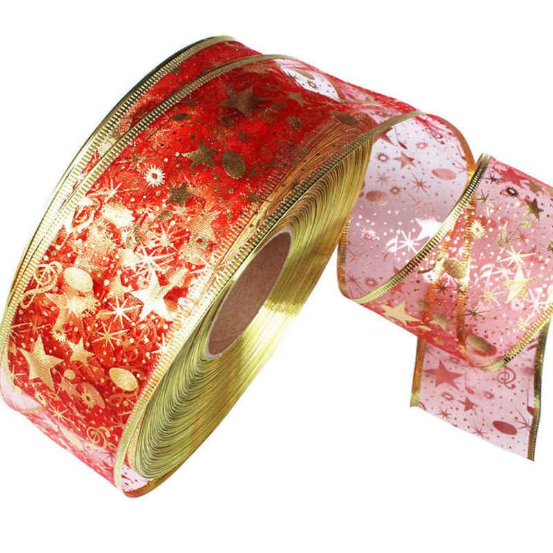 2 m חג המולד סרט כוכבים מודפס סרט עבור DIY חג המולד עץ דקור חדש שנה חגיגי מסיבת מתנת גלישת תפירת קרפט