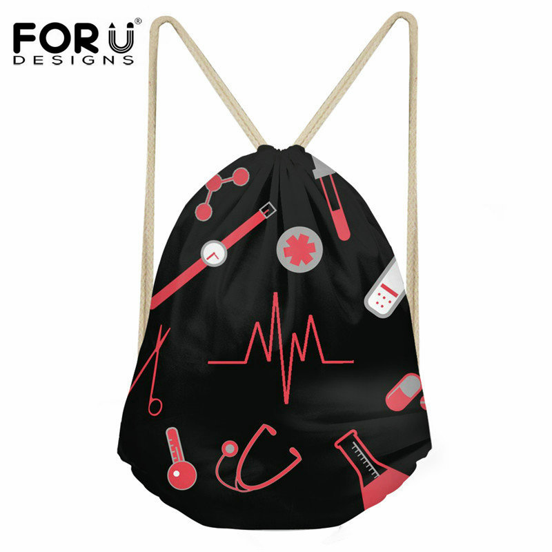 FORUDESIGNS 3D Nurse Heartbeat Printed Small String Backpack Women Girls Casual Travel Drawstring Bag Female Beach Shoe Sack Bag