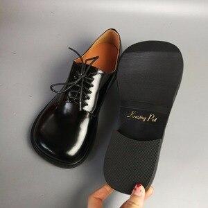 Image 5 - Женские туфли из натуральной кожи, на толстом каблуке, с круглым носком