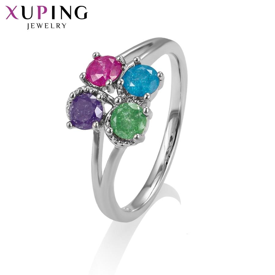 11,11 сделок Xuping моды простое кольцо с окружающей среды Медь Ice камень украшения для Для женщин Рождество подарки S77-15200