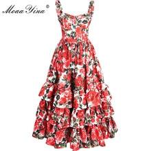 MoaaYina Fashion Designer 활주로 볼 가운 Dress Summer Women 스파게티 끈 등이없는 꽃 Print 계단식 프릴 Beach Dress