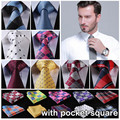 "Check 3.4"" 100%Silk Wedding Jacquard Woven Men Tie Necktie Pocket Square Handkerchief Set Suit ECD"