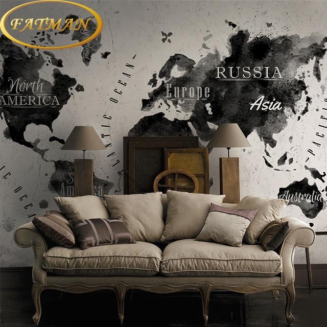 Custom foto behang gepersonaliseerde wereldkaart behang inkt ...