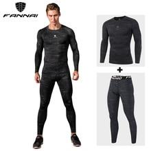 FANNAI, компрессионные мужские спортивные костюмы, быстросохнущие, подходят для бега, леггинсы, спортивные, для пробежек, тренировок, тренажерного зала, фитнеса, спортивные костюмы, набор ММА