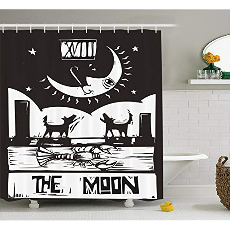 Flavor Rational Vixm Moon Shower Curtain Brown White Drawing Lobster Wolves Crescent Moon Stars Tarot Card Design Fabric Bath Curtains Fragrant In
