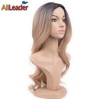 Alileader髪製品実体波長いオンブルかつらブロンドpruik、アフリカ系アメリカ人かつら耐熱人工