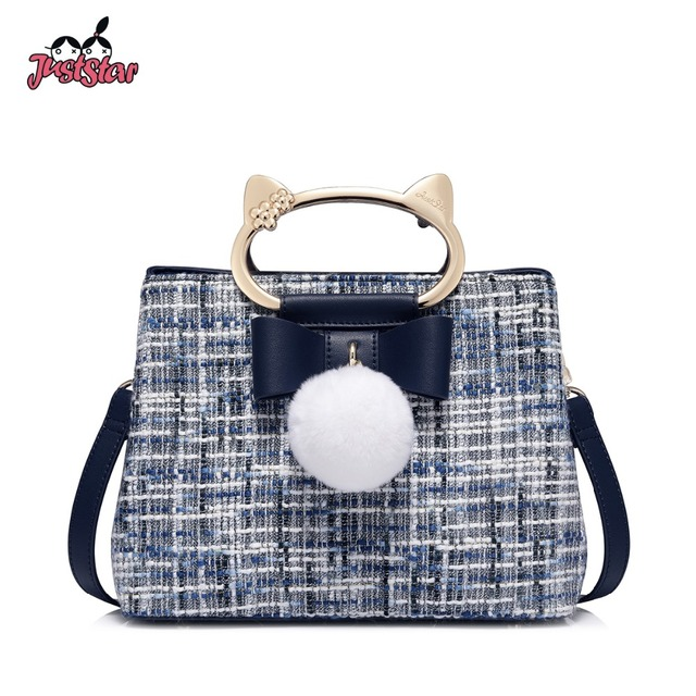 f1b3f660d0 JUST STAR Women s Woolen Handbags Ladies Fashion Bow Hair Ball Tote Purse  Female Leather Cat Handle All-match Messenger Bags