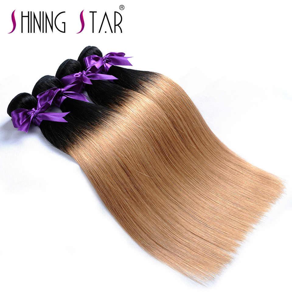 Renkli T1B 27 Bal Sarışın Demetleri ombre brezilya saçı Örgü Demetleri düz insan saçı Örgü Koyu Kök Parlayan Yıldız Olmayan Remy