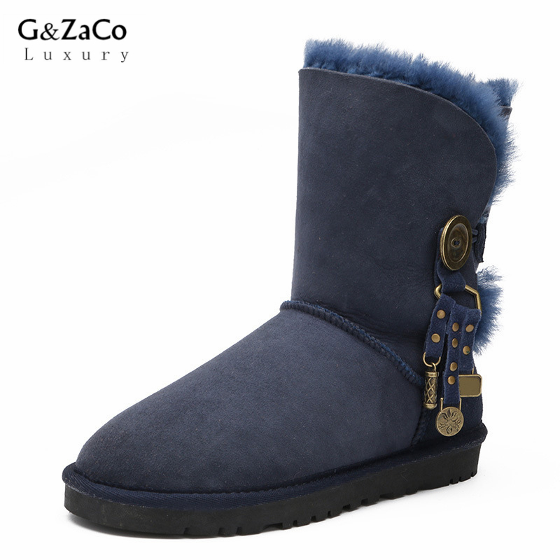 G&ZaCo Luxury Sheepskin Snow Boots Natural Sheep Fur Boots Women Mid Calf Metal Tassel Real Sheep None Slip Boots Women double buckle cross straps mid calf boots