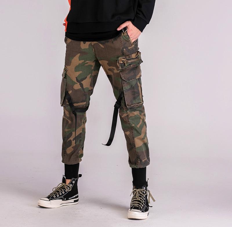 Mens Buckle Straps Style Camo Cargo Pants Military Multi-Pockets Jogger Pants Free Shipping drawstring spliced camo jogger pants
