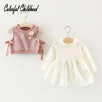 Осеннее детское платье для девочек, вязаные платья с длинными рукавами из 2 предметов Одежда для новорожденных одежда для малышей от 0 до 24 м...