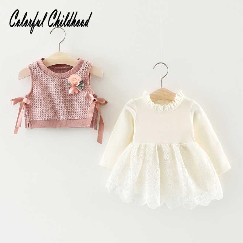 Outono crianças vestido para meninas manga longa falso 2pc vestidos de malha recém-nascidos roupas do corpo da criança roupas de bebê 0-24m