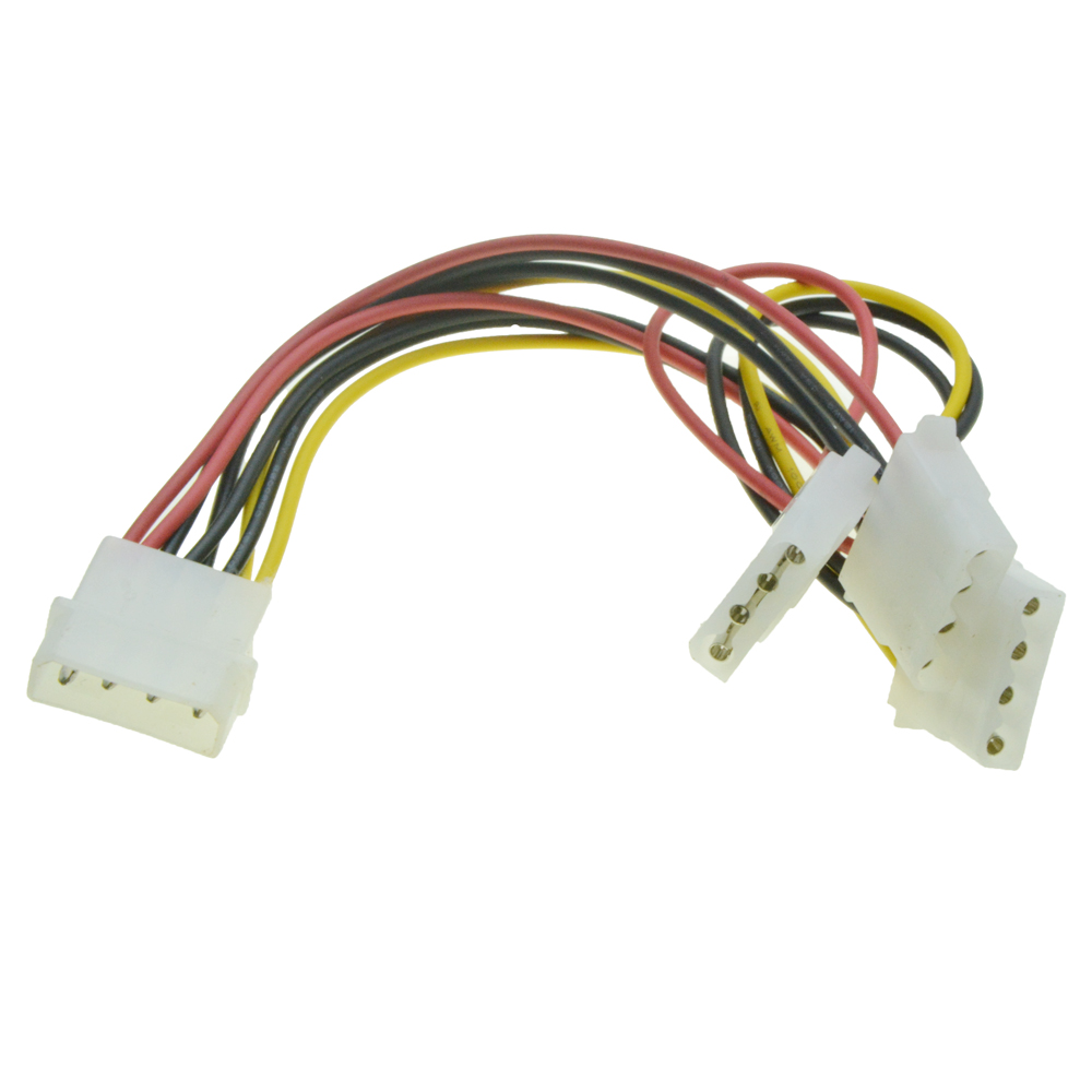 Imported From Abroad 4 Pin Molex Power Port Male 1 To 3 Female Ports Power Supply Cable Ide Power Port Multiplier D Plug Y Splitter Extension Cable Computer & Office