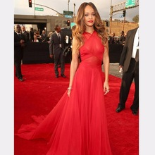 Celebrity-Dresses Red Long Chiffon A-Line Backless High See-Through Formal Famous