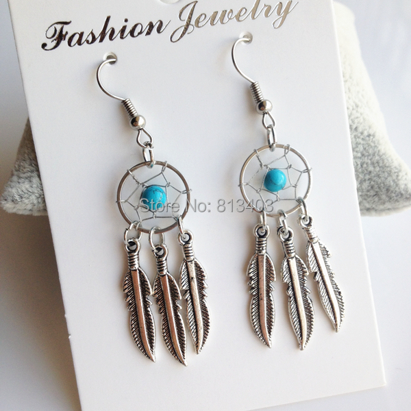 Vintage Alloy Feather Drop Earrings New Brincos Pequenos Star Fascinating Dream Catcher Earrings Online