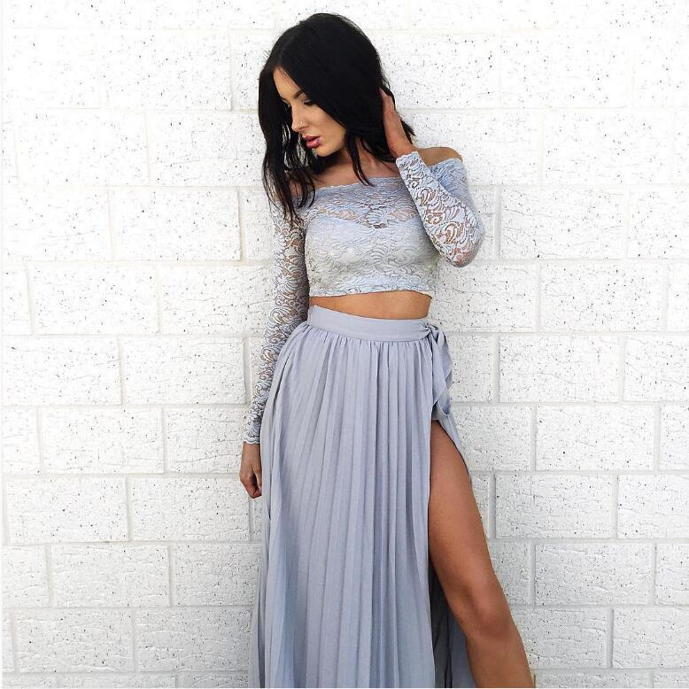 b4b199dffae Women Long Sleeve Off Shoulder Lace Crop Top and Chiffon Side Split Pleated  Maxi Dress Ladies Summer Beach 2 Piece Dresses C1297