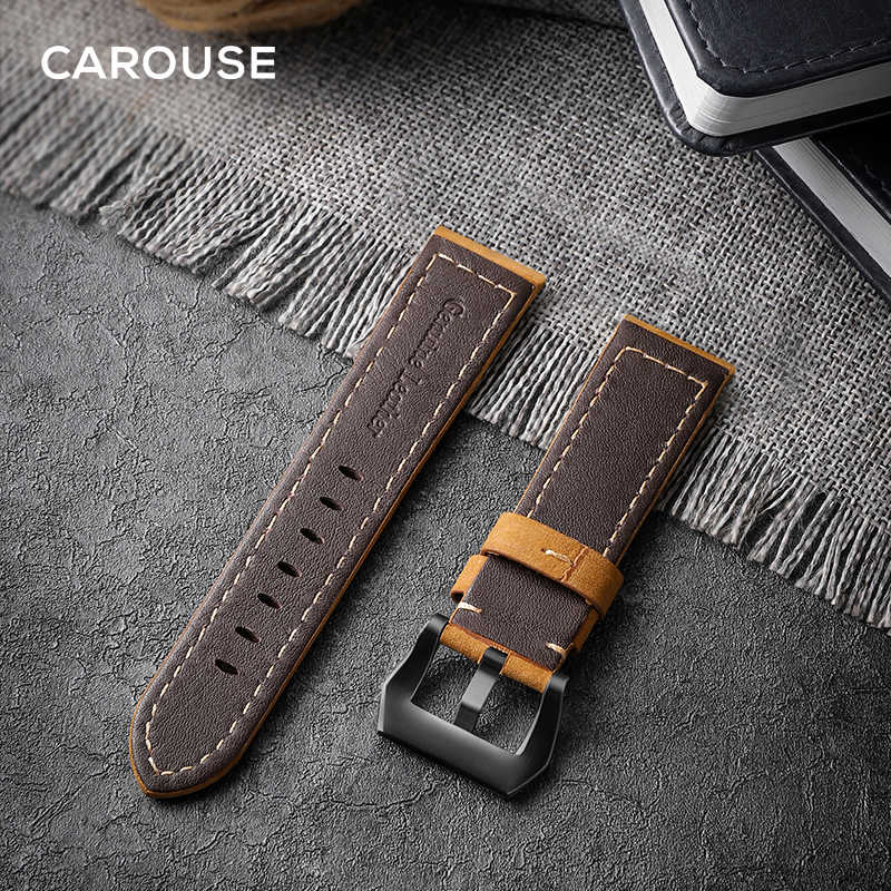 Carouse 22mm 20mm El Yapımı Inek Derisi Band Samsung Galaxy Saat Aktif 42mm 46mm Dişli spor S2 s3 Klasik Kayış Için GT 2