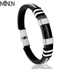 MINCN bracelet mens stainless steel Black Leather punk Brown Genuine Bracelet Men