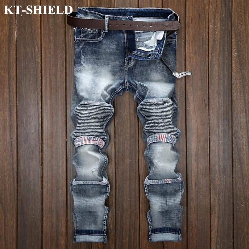Brand Men Biker Jeans Slim Denim Motorcycle Pant 100% Cotton Winter Stretch Jeans Trousers Hip Hop Skinny Jeans Men Plus Size jeans men s blue slim fit fashion denim pencil pant high quality hole brand youth pop male cotton casual trousers pant gent life