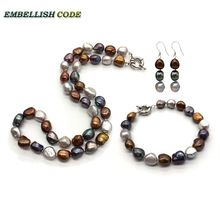 selling well charm necklace earring bracelet set small baroque pearls simple freshwater pearl Peacock blue brown coffee grey недорого