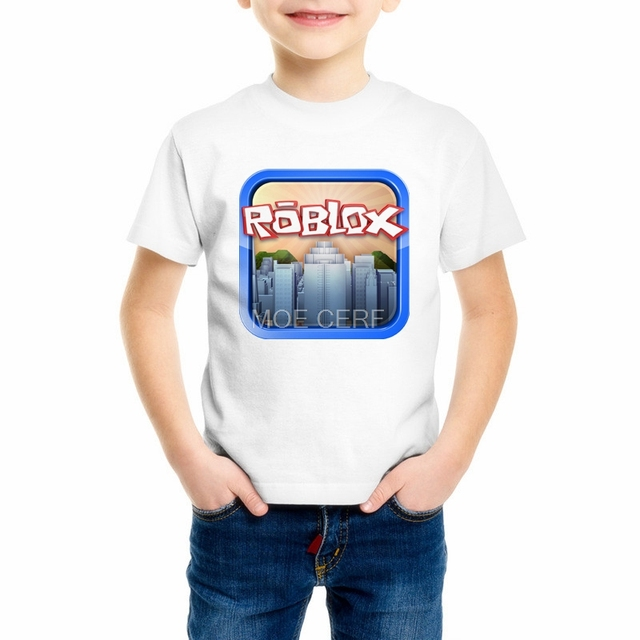 2018 New Roblox Cartoon Children s Clothing Minecraft Summer Short Sleeve  Our World Baby Boys Girls T 17f26bd3d778