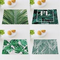 Green Plants Cotton Linen Cloth Potholder Place Mat 40X30cm Dining Table Mat Pads Bowl Pad Coasters