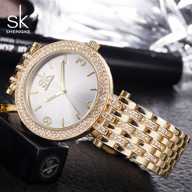 все цены на  SK Brand New Fashion Quartz-Watch Women Dress Watches Reloj Mujer 2017 Luxury Gold Crystal Ladies Wristwatch Montre Femme 0011  в интернете