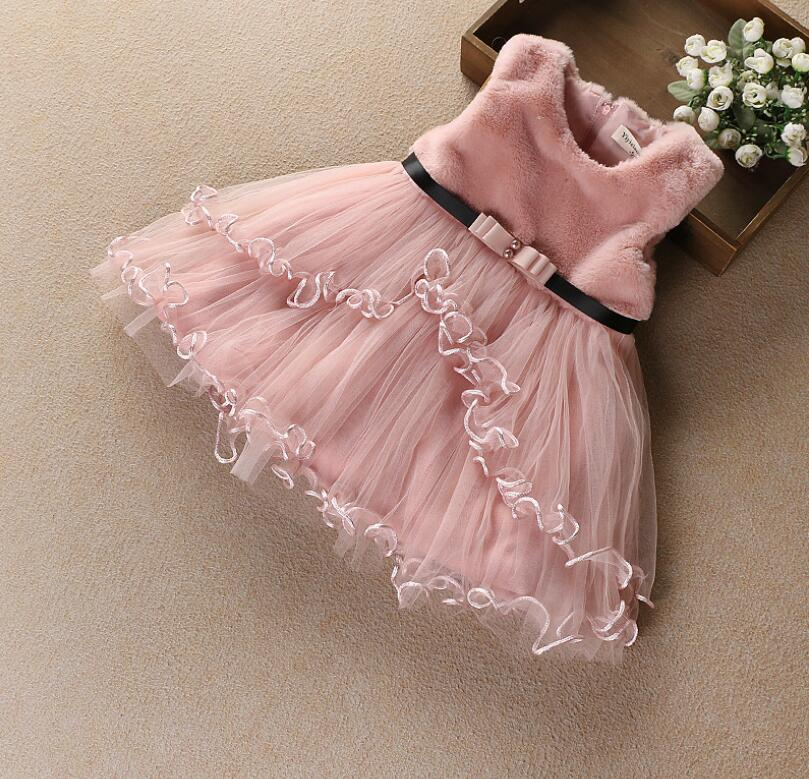 O-Neck Clothing Princess Patchwork Clothes Wholesale Autumn Sleeveless Children Girls Baby Bow Sashes Ruched Dresses 4pcs/LOT
