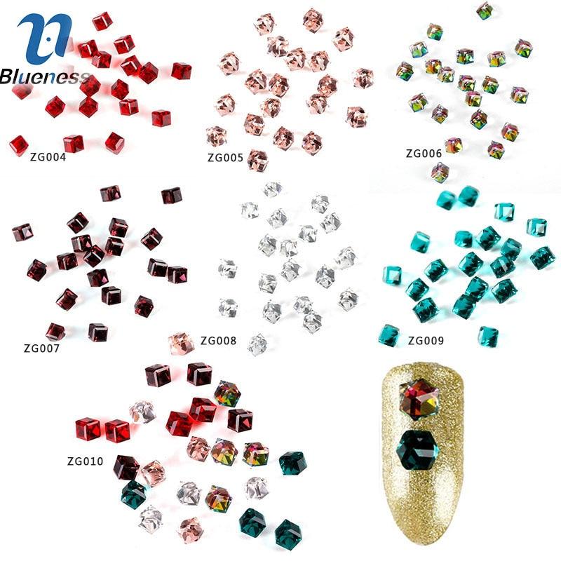 Blueness 1 Box Glitter AB Glass Beads Nail Stones For Nail Art Decor 6 color Shining Rhombus Diamond For DIY Manicure ZG004-010
