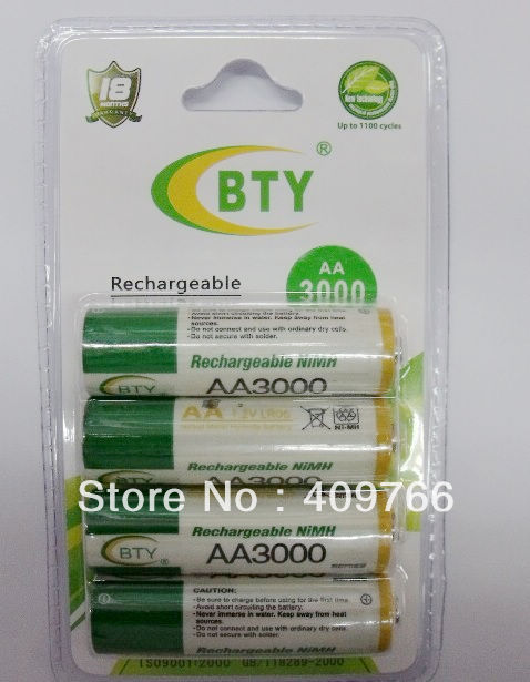 60PCS/LOT Original BTY AA 1.2V Ni-MH 3000mAh Rechargeable Battery Batteries for camera DV alarm clock Free Shipping