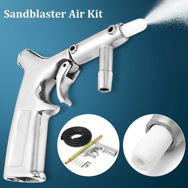 Air Sandblaster Kit Sandblasting Gun Sand Blasting B Laster Gun With White/Gold Nozzles Tube Sand Pneumatic Tool
