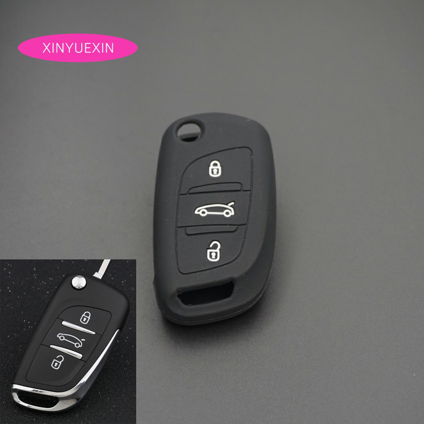 Xinyuexin Silicone Car Key Cover FOB Case For For Citroen C2 C3 C4 Coupe VTR Berlingo C6 C8 Flip Remote Car Key Case Car-Styling