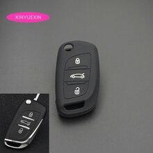 Xinyuexin Siliconen Autosleutel Cover Fob Case Voor Voor Citroen C2 C3 C4 Coupe Vtr Berlingo C6 C8 Flip Afstandsbediening auto Key Case Auto Styling