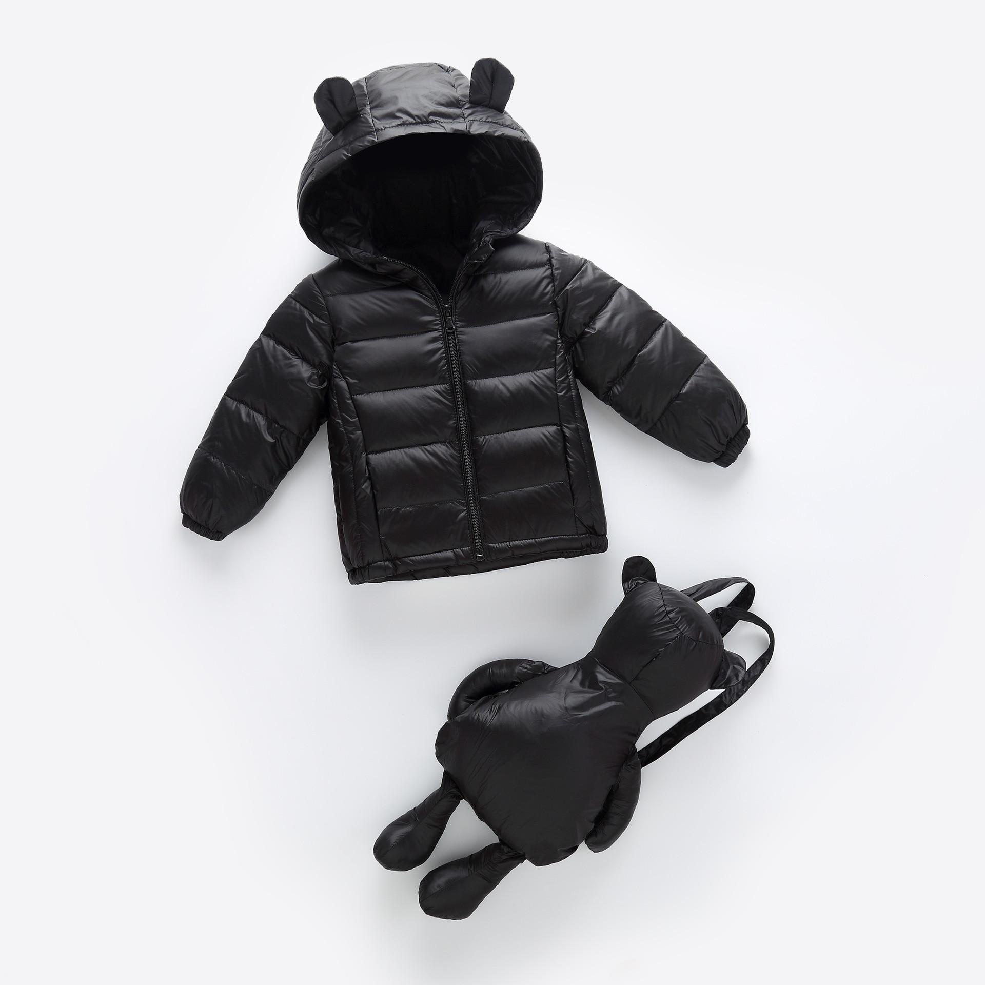 2 Stücke Mode Kinder Kleidung, Neue Marke Licht Unten Mantel Winter Jacke Für Mädchen Jungen Teenager Jacke + Tasche Kinder Kaninchen Ohren Kleidung AusgewäHltes Material
