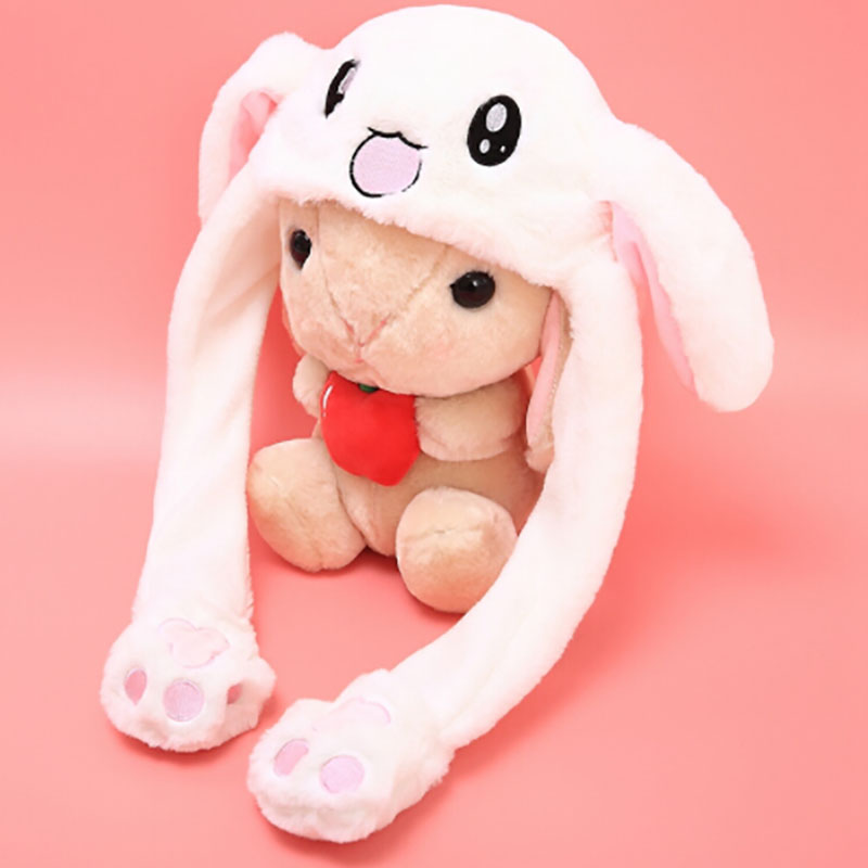 Popular Cute Rabbit Plush Cap Pink White Attractive Kids Cuddly Moving Ear Rabbit Hat Dance Plush Toy Gift For Girl