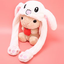 Popular Cute Rabbit Plush Cap Pink White Attractive Kids Cuddly Moving Ear Rabbit Hat Dance Plush Toy Gift For Girl(China)