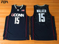 TBA 2017 New Uconn 15 Huskies Kemba Walker Home Black Basketball Jersey For Men Embroidery Logos