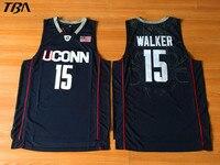 TBA 2017 New Uconn 15 Huskies Kemba Walker Home Black Basketball Jersey For Men Embroidery Logos