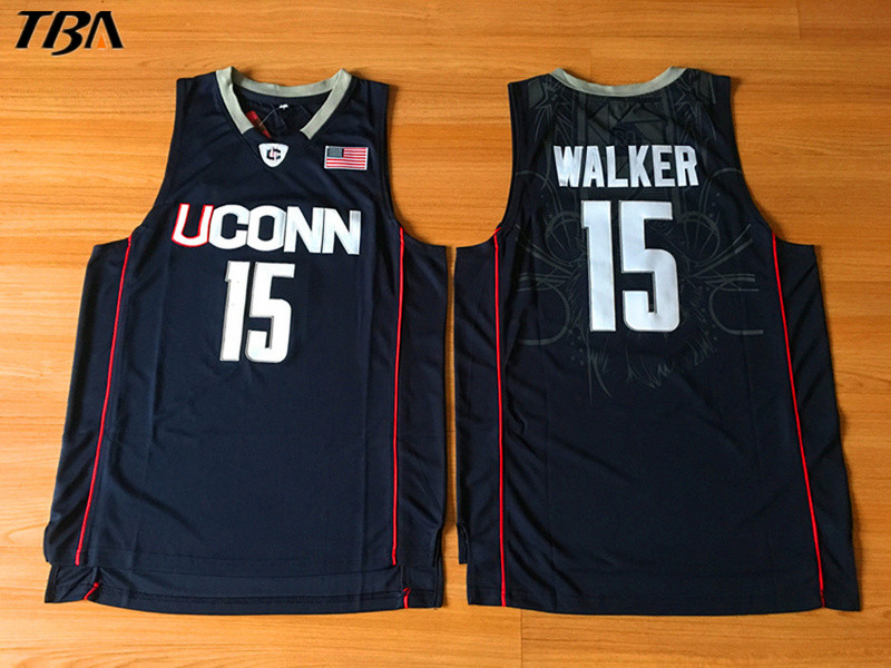 TBA 2017 New Uconn #15 Huskies Kemba Walker Home Black Basketball Jersey For Men Embroidery Logos College basketball Jersey