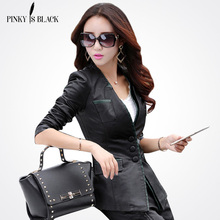 Plus size women clothing 2016 leather jacket medium-long slim red stitching outerwear female casual