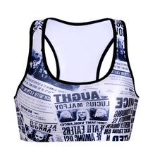 0047 Summer Sexy Girl Women newspaper daily prophet 3D Prints Padded Push Up Gym Vest Top Chest Running Sport Yoga Bras