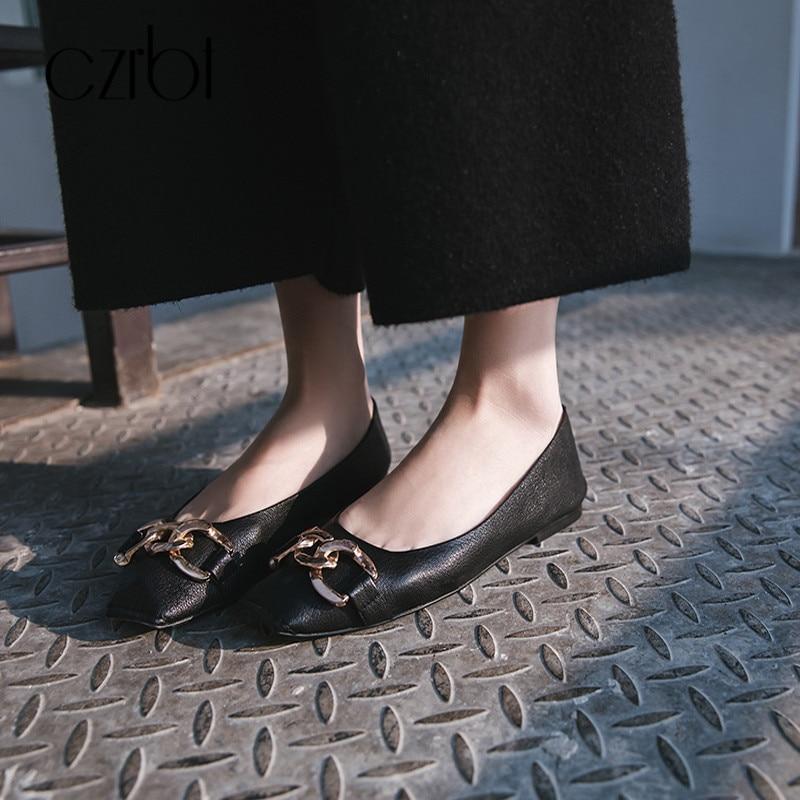 Mocassins Véritable white Czrbt Femmes Sur Ballerines Dames Métal Black En Automne Bout Simples Cuir Plat Carré Glissement Décoration Chaussures n1FzY1qw