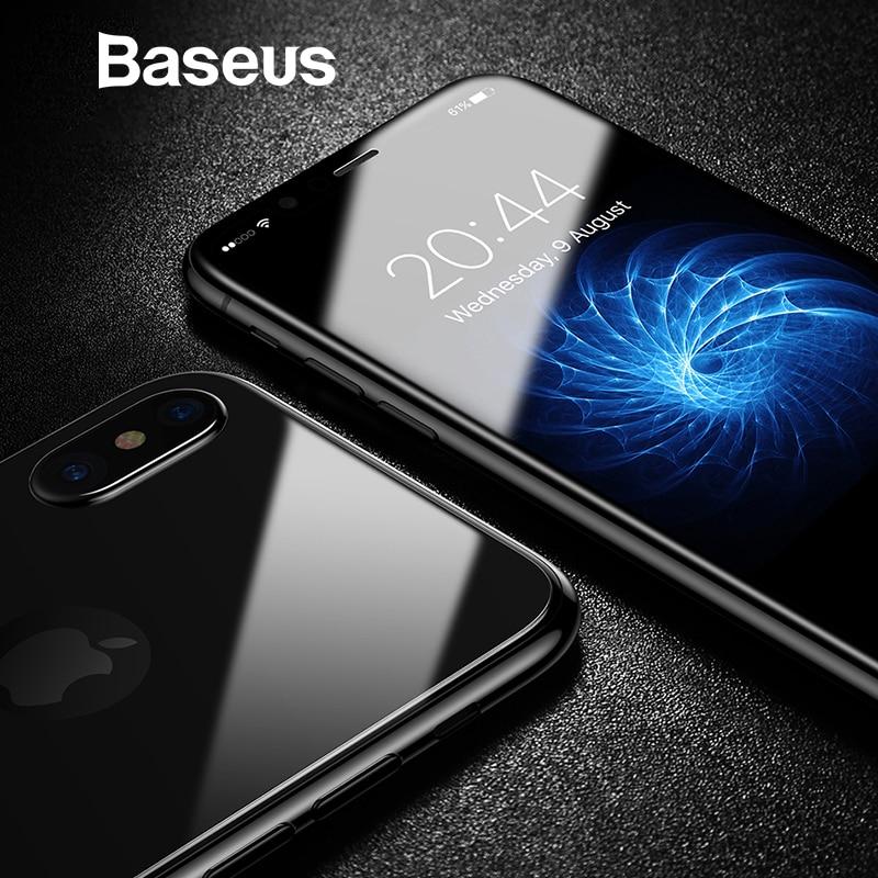 Baseus vidrio delantero + Protector trasero de la pantalla para el iPhone X vidrio templado 0,3mm Ultra fino 100% vidrio puro película protectora 9 H